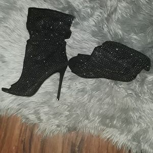 Open toe blinged out bootie